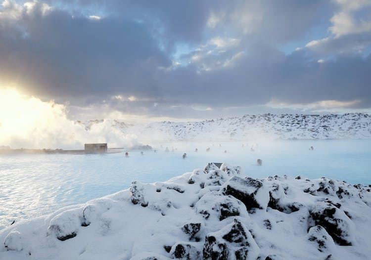 The warm waters of the Blue Lagoon make it a perfect place to warm up in winter.
