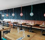 The design of the restaurant you'll eat at has features of traditional Icelandic creativeness.