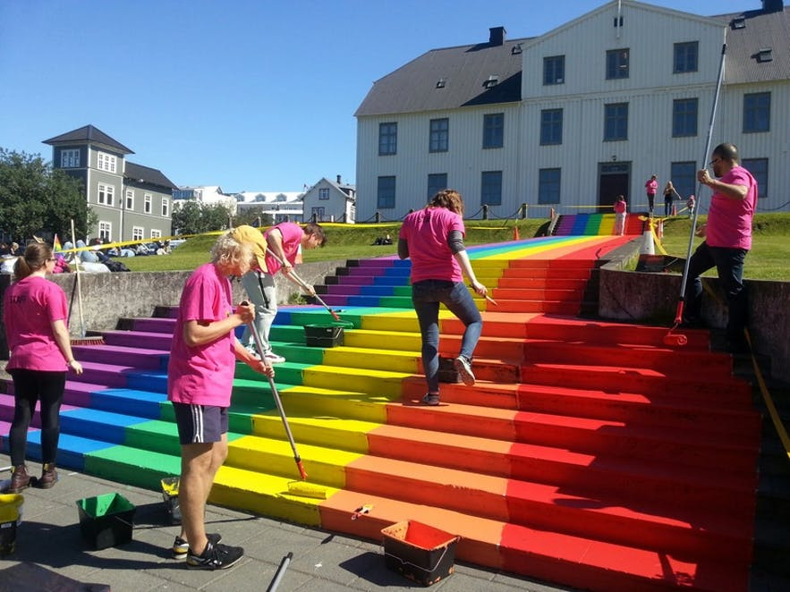 Gay Pride rainbow paint at the staircase of Iceland's oldest college