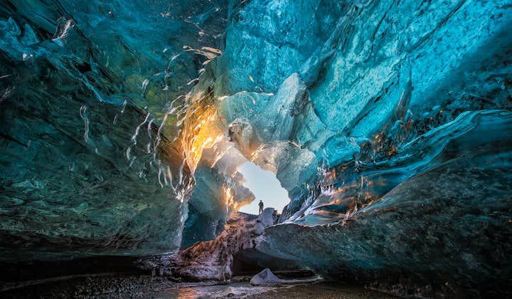 2-dniowa wycieczka do jaskini lodowej z polowaniem na zorzę polarną, wodospadami południowego wybrzeża i laguną Jokulsarlon