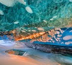 The inside of an ice cave resembles something from another galaxy.