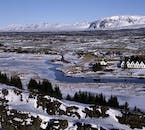 Þingvellir covered with a blanket of snow during the Icelandic winter months.