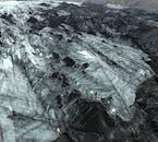 Vue aérienne de la langue glaciaire du Solheimajokull en Islande