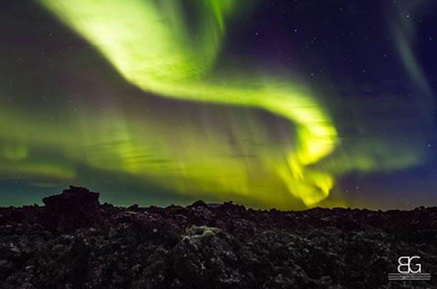 Northern lights at peturskirkja