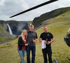 Helicopters can reach remote location in minutes that would take hours to drive to, such as this waterfall in South Iceland.