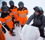 Listen carefully to your snowmobiling guide as they teach you, step by step, how to operate the snowmobile on Langjökull glacier.