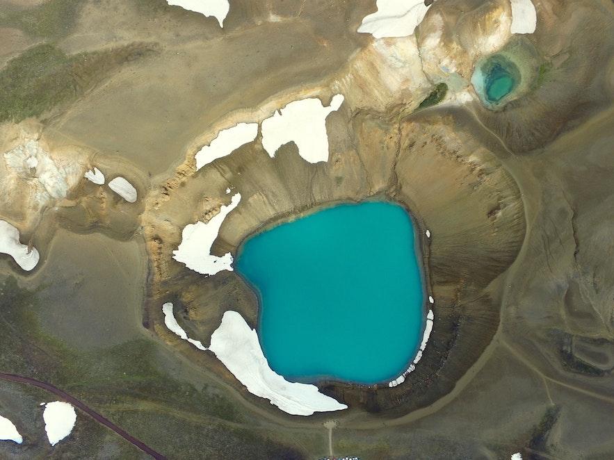El cráter de Krafla en Islandia