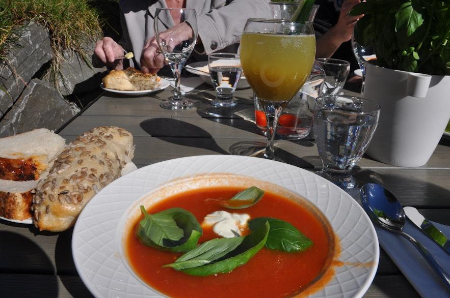 Tomato soup at Friðheimar tomato farm in Iceland