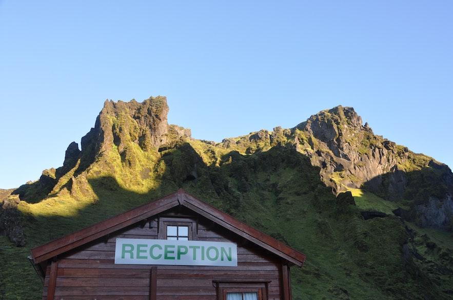 The reception in Þakgil camping site