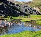 Hot spring bathing is a favourite activity at Landmannalaugar.