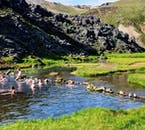 Hot spring bathing is a favourite activity at Landmannalaugar.