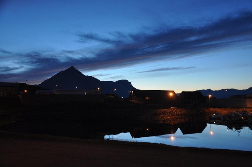 Just past sunset in Djúpivogur, East Iceland