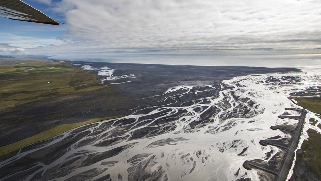 The vast plains and braided rivers of Skeiðarársandur in East Iceland.