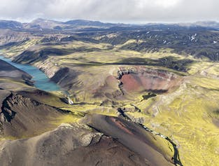 Survol des cratères de Laki, glaciers et Hautes Terres