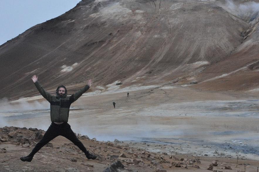Enjoying our time at Námaskarð geothermal area