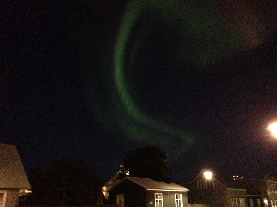 Northern lights in Reykjavík, iphone image