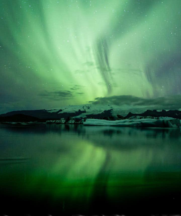 Northern lights over Jökulsárlón, picture by Unnur Eva Arnarsdóttir