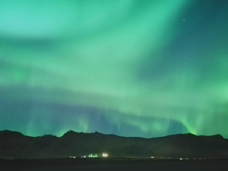 Auroras over south Iceland, picture taken on a phone