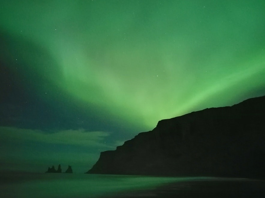 Northern lights by Vík in south Iceland