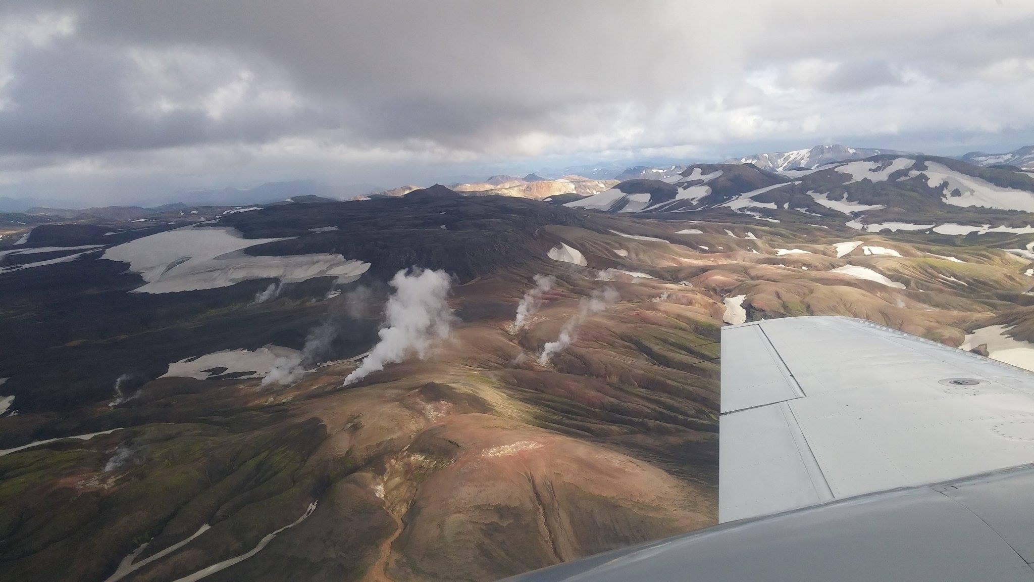冰岛内陆高地的流纹岩风光在空中俯瞰更加震撼。