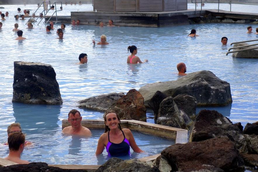 Regína at the Mývatn Nature Baths