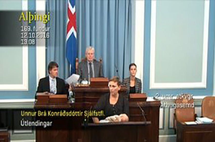 Icelandic MP breastfeeds in parliament