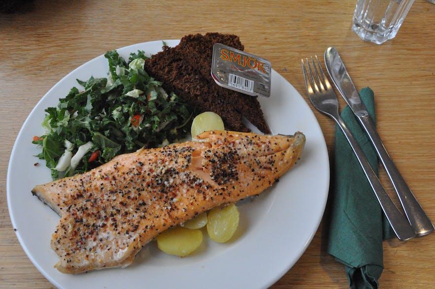 Delicious trout at Kaffi Borgir, north Iceland