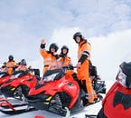 When snowmobiling on Langjökull glacier, you will be wearing bright, colourful overalls as a means of staying visible.