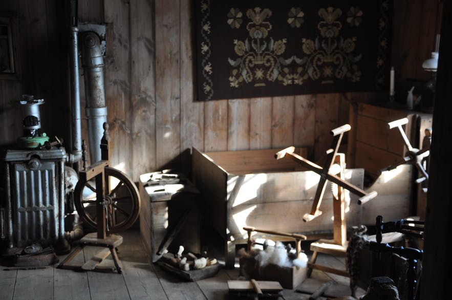 Traditional old Icelandic house interior