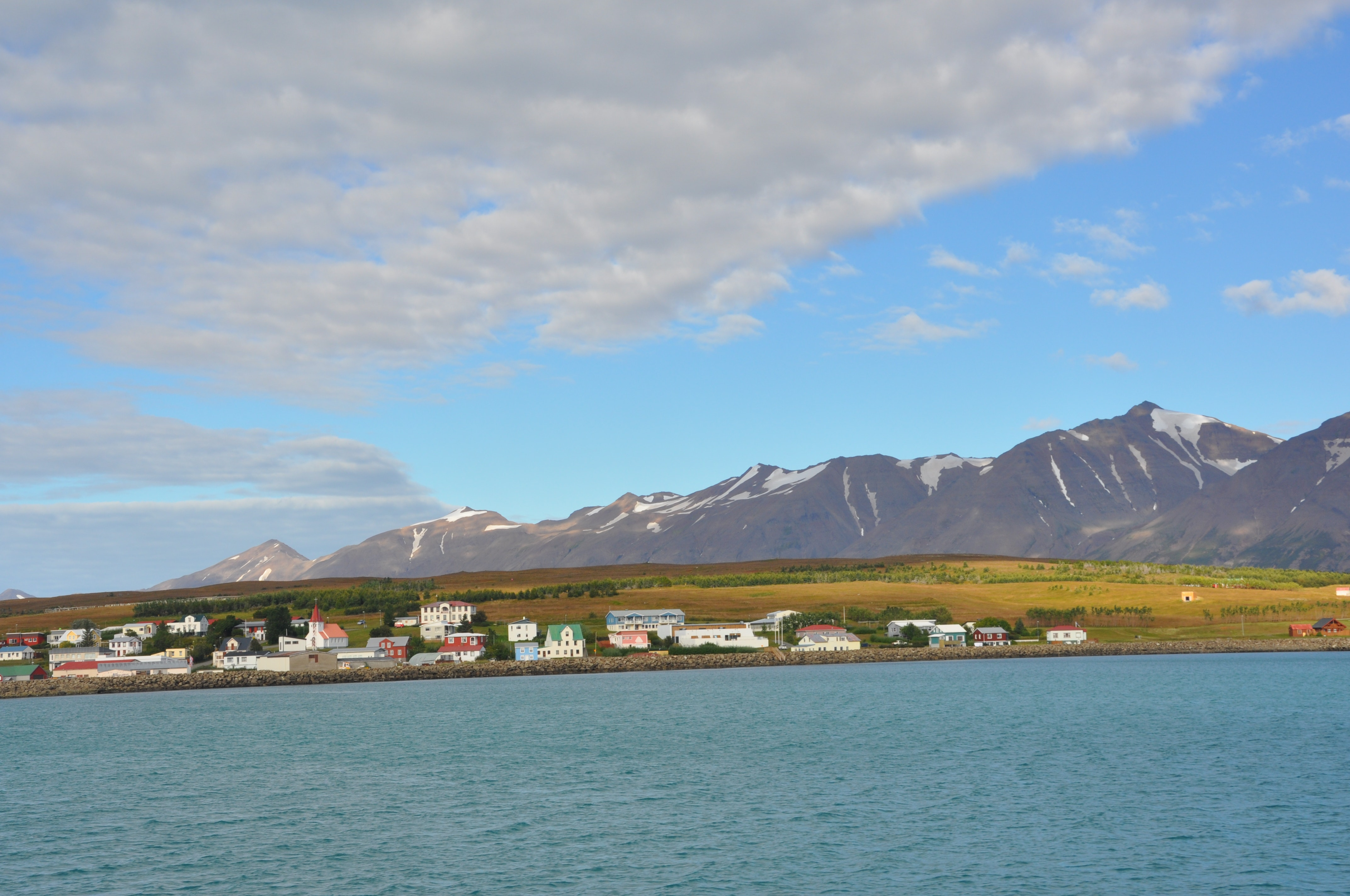 The view of Hrísey from the ferry