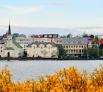 Overlooking the city pond, Tjornin, in the centre of Reykjavik.