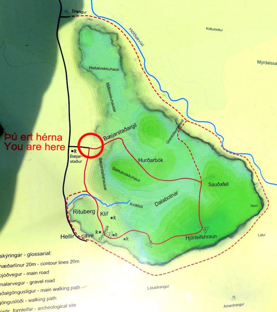 Map of Hjörleifshöfði hike South-Iceland