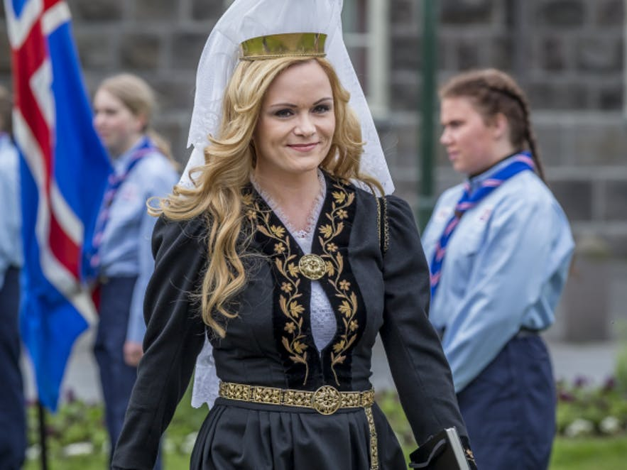 Selma Björnsdóttir in the Icelandic national dress