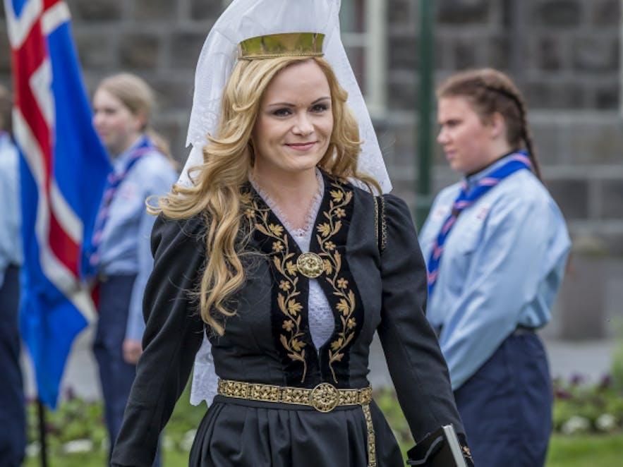 Selma Björnsdóttir in the Icelandic national dress
