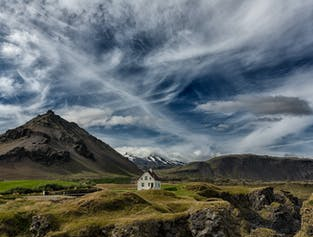 The scenic area of Arnarstapi on the Snæfellsnes Peninsula in West Iceland.