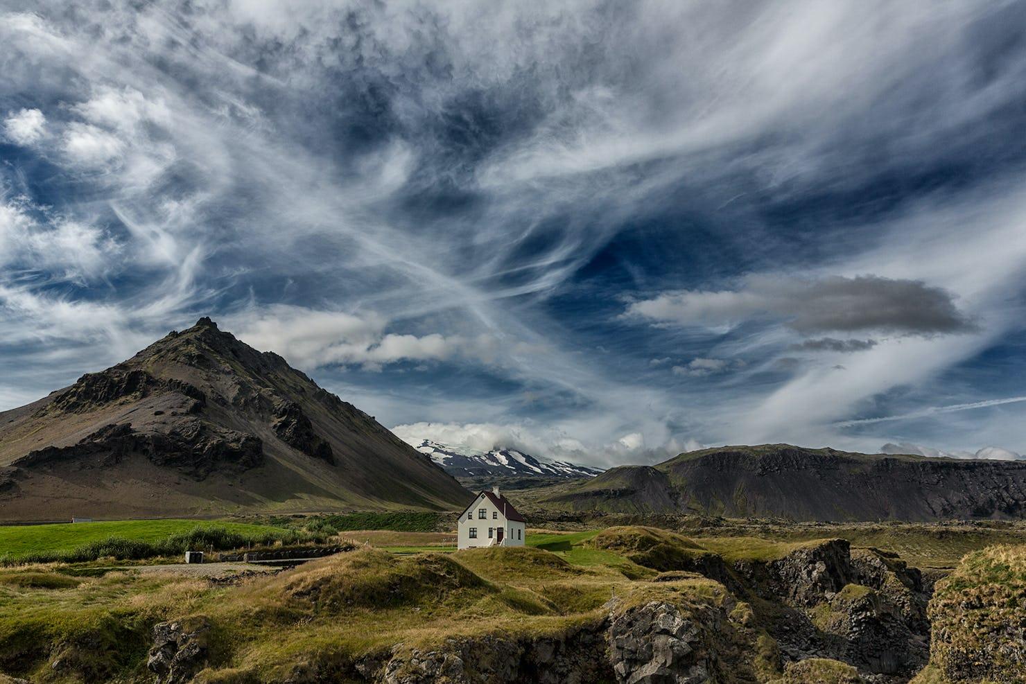 The scenic area of Arnarstapi on the Snæfellsnes Peninsula in West Iceland.