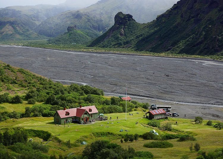 Þórsmörk is a lush valley positioned between two glaciers.