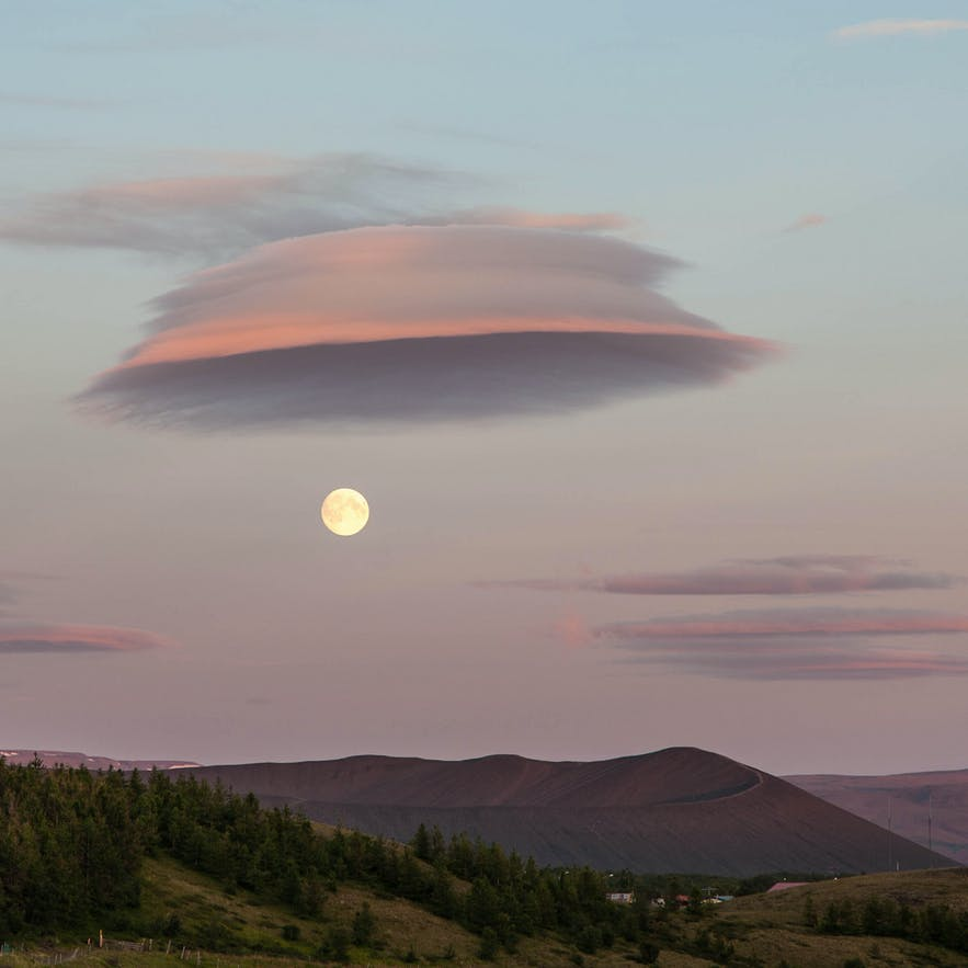Supermoon over Hverfjall volcano by Lake Mývatn, north Iceland