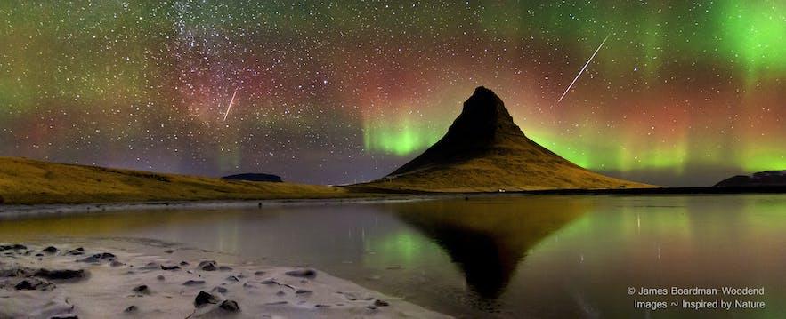 Kirkjufell, meteor shower, northern lights and Milky Way
