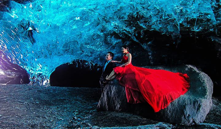 The Blue Ice Caves under Vatnajökull in South Iceland, only being open in winter, require more appropriate clothes than the beautifully dressed couple are wearing here, as your guide will tell you.