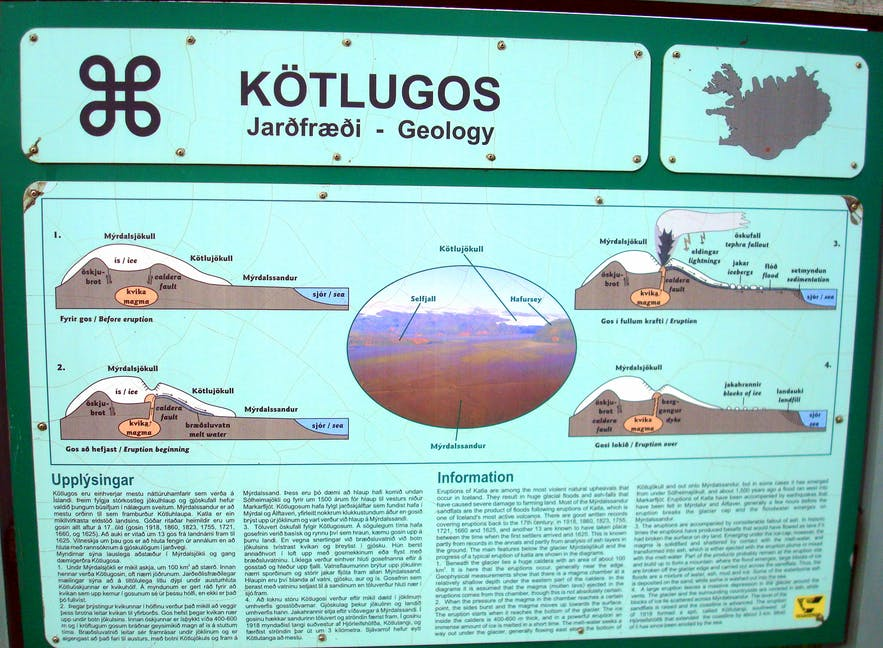 The information sign about Katla eruptions