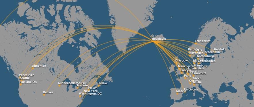 carte des vols depuis l'Islande