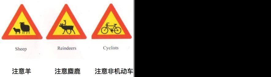 警告性路标可能是提醒该地区有行人、羊、驯鹿等动物等,需要减缓车速