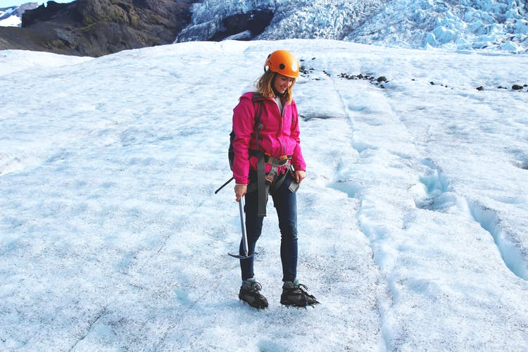 Get all geared up before going on your glacier hike up Sólheimajökull by the South Coast of Iceland.
