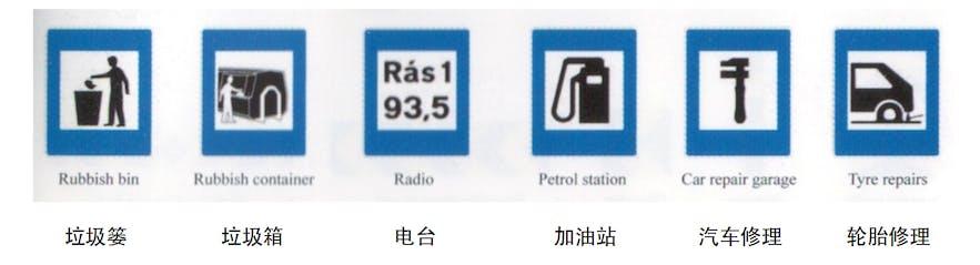 加油站、修车厂、轮胎修理路标