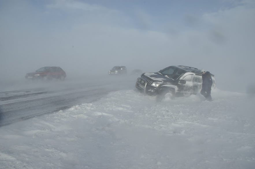 Cars stuck by the side of Iceland's road