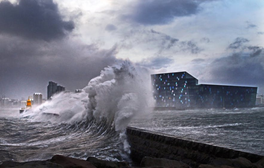 Storm by Harpa concert hall, picture from Harpa's twitter feed