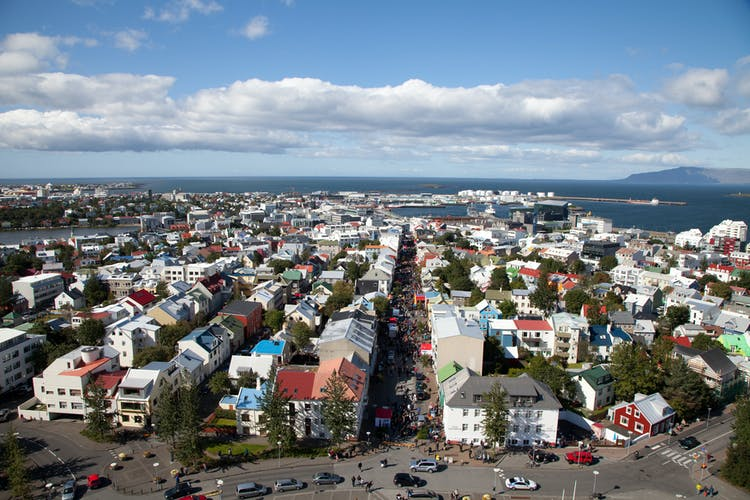 The colourful tin rooftops of Iceland's charming capital city, Reykjavik, the northernmost capital in the world.