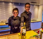 Friendly local bar-keepers entertaining on a New Year's cruise in Iceland.