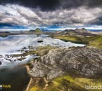 A still lake in the Highlands of Iceland as seen via helicopter.